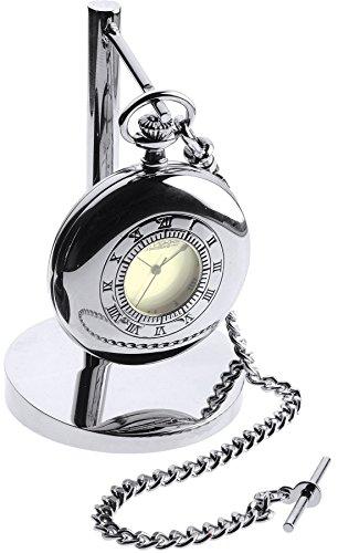 Preisvergleich Produktbild I Luv LTD Chrome Half Hunter Pocket Watch Clock Set - on Stand - Leather Case Albert Chain
