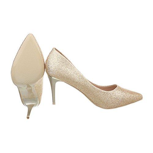 24 da Spillo Col Alto Ital a Tacco Tacco Scarpe Scarpe Scarpe Tacco Design oro 5015 con Donna 4qRaw