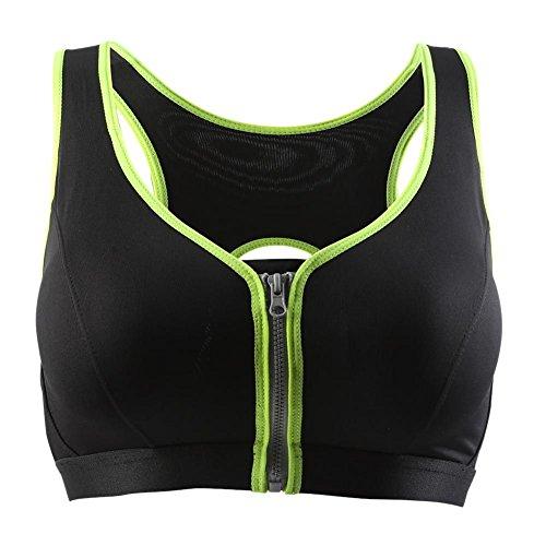 Brightup Femme Soutien-gorge de Running Yoga,Bra de Sport avec fermeture à glissière, Tops de gymnastique, Débardeur, Soutien-gorge rembourré Sous-vêtements Vert