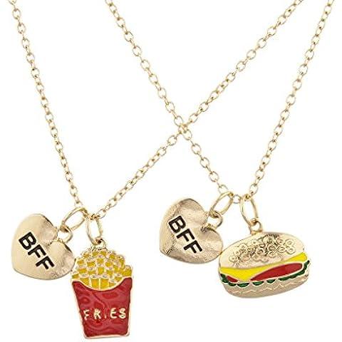 LUX accesorios dorado hamburguesas y patatas fritas mejores amigos Bff colgante collar Set