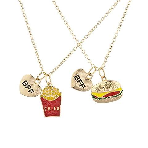 Ensemble de collier breloque des meilleurs amis pour toujours avec des hamburgers et des frites ton or par Lux Accessoires