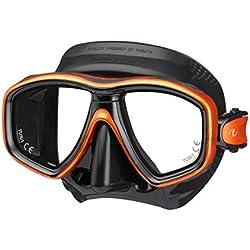 Tusa Freedom CEOS M-212 Masque de plongée avec Tuba pour Adulte avec Verres correcteurs, Black/Energy Orange