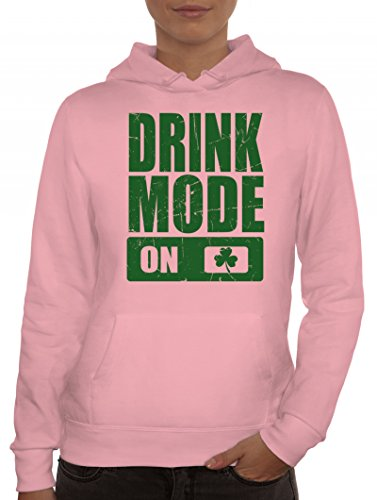 t. Patrick's Day Partner Gruppen Damen Kapuzenpullover Drink Mode On, Größe: L,rosa (Rosa Damen Kostüme Irland)