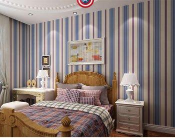 DUOCK Amerikanische Kinder Wallpaper Stars Non Woven bunte Wand Papierrolle Mädchen Schlafzimmer Kontakt Papier Boy Wallpaper für Wände, B Version Strip, 53 CM X 10 M (Papier Kontakt Boy)