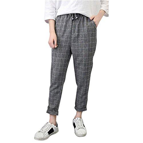 Hosen Damen Sommer,Palazzo Frauen Casual Plaid Elastische Taille Lace up Lose Plus Size Full Length Pants (Grau, M) -