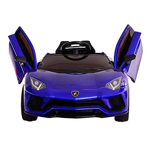 Elektroauto 12V Kinder Elektroauto Mit LED-Leuchten Musik Lamborghini Elektroauto Double Drive Großes Elektroauto Kann Zwei Kinder Lamborghini Sitzen,Blau