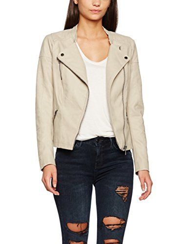ONLY Damen Jacke Onlava Faux Leather Biker Otw Noos, Beige (Pure Cashmere), 42