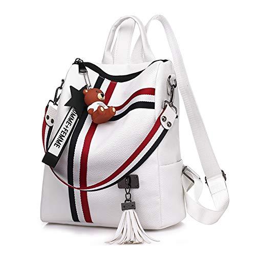 Damen Stripe Pu Leder Rucksack,Wild Große kapazität Umhängetasche,Schwarz Weiß Handtasche-Weiß 27x30x12cm(11x12x5inch) - Designer-stil Echtes Leder