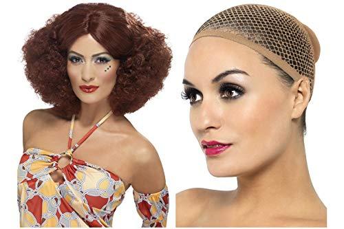 Fancy Dress World 42039 Afro-Perücke, für Herren und Damen, 60er / 70er Jahre, mit Mittelscheitel, inkl. Netz-Haarnetz