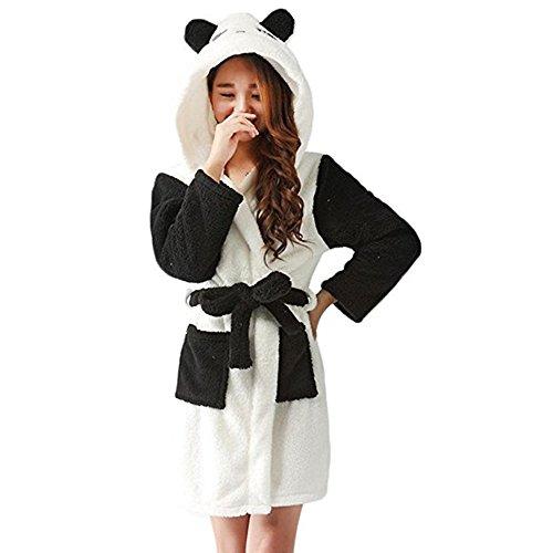 Mystery&Melody Kinder Einhorn Bademantel Flanell Mit Kapuze Süss Schlafanzug Cosplay Kostüme Tiere Ankleiden Unisex (M:157-166CM, Panda) (Panda Kostüm Kind)