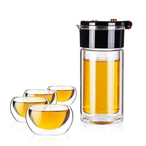 ZHANGYH Tasse de thé Anti-Chaleur GentlemTeapot avec Plateau en Verre Double Tasse à thé 300ml (Verre + 4 Tasses) (Couleur : Noir)