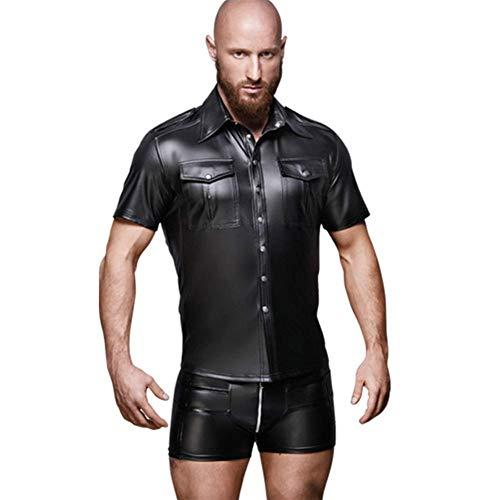 Underwear Sexy Männer Faux Leder Catsuit Erotisch Mit Niet Taste Body,XL