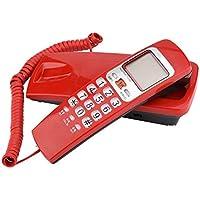 Richer-R Wandtelefon Schnurtelefon, Schnurgebundenes Telefon FSK/DTMF Anrufer ID Telefon Kompakttelefon,Schnurgebundenes Analog Telefon für Hause Büro 4 Farben(Red)