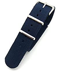 Dark Blue Infantry Military MoD NATO Nylon Fabric GENERIC G10 4 Rings Watch Strap Band Chrome Buckle
