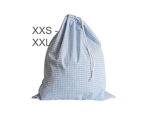 Wäschebeutel Vichy-Karo hellblau-weiß