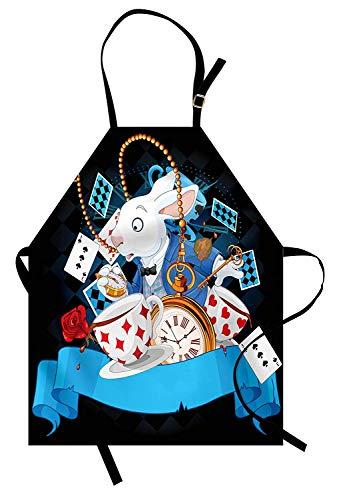Alice im Wunderland Schürze, Kaninchen Motion Cups Herzen und Blume Charakter Alice Cartoon-Stil, Unisex-Küche Latzschürze mit verstellbarem Hals für das Kochen Backen Gartenarbeit, ()