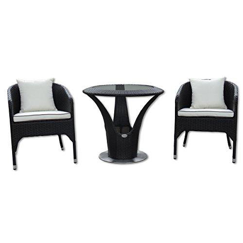 Rotin Meubles de jardin - Jardin et extérieur Bistro Set 2 personnes - table avec 2 x fauteuils et coussins - Design élégant. Imperméabiliser. Cadre en aluminium. table ronde sur pied en acier inoxydable - Bistrot Lounge (noir)