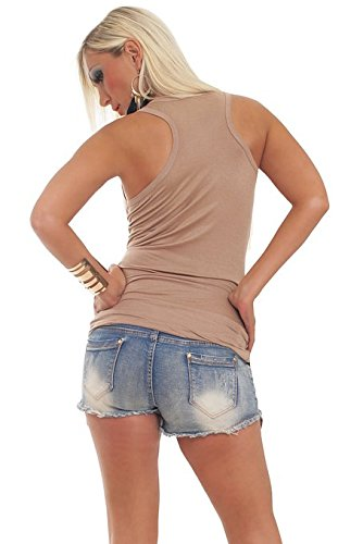Fashion4Young 5587 Top sexy cintré, tailles 34 36 38, disponible en 10 couleurs Marron - Marron