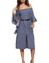 Donna Vestiti Di Jeans Midi Estivi Eleganti Da Cerimonia Camicia Vestito  Con Cinghie Manica A 3 890f7fc73c4