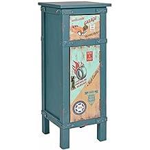 ts-ideen Cómoda Estilo Container Rústico Campesino Azul Contenedor Shabby Vintage