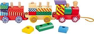 Small Foot by Legler Zug Kunterbunt aus Holz, 13 bunte Holzbausteine und eine Lokomotive mit zwei Waggons, lässt sich an einem Band hinterherziehen, abwechslungsreicher Spielspaß für Eisenbahn-Fans ab 2 Jahren