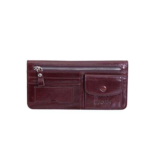 PU Piega Lunga Pelle moda donna Portafoglio borsa Ecopelle Wallet raccoglitore Pocket Portamonete Rosso