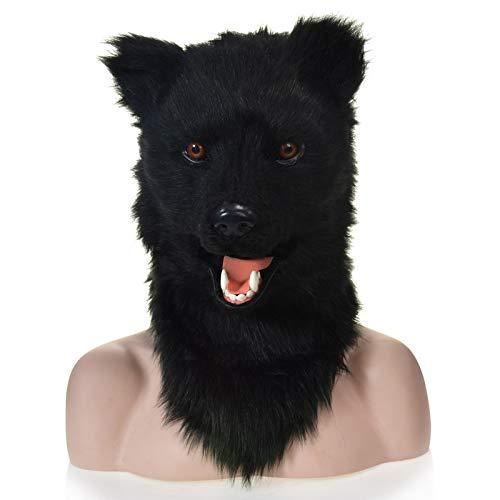 SCSY-Masken Schwarzer Bär, der Mund-Kunstpelz-erwachsene Kostüm-Maske-unheimliche Tiermaske bewegt (Color : Black, Size : 25 * 25)