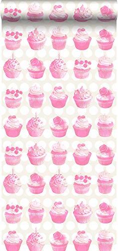 Tapete Cupcakes auf glänzenden Punkten Rosa - 138723 - von ESTAhome.nl