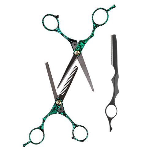 Sharplace 2pcs di forbici per capelli professionali con 1 pezzo rasoio per avere barbieri e parrucchieri