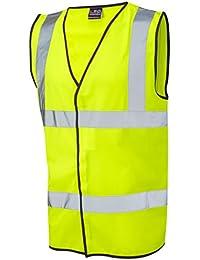Para hombre Leo Hi Vis sin mangas chaleco seguridad reflectante 3X L, 4x l, 5x l, 6x l amarillo