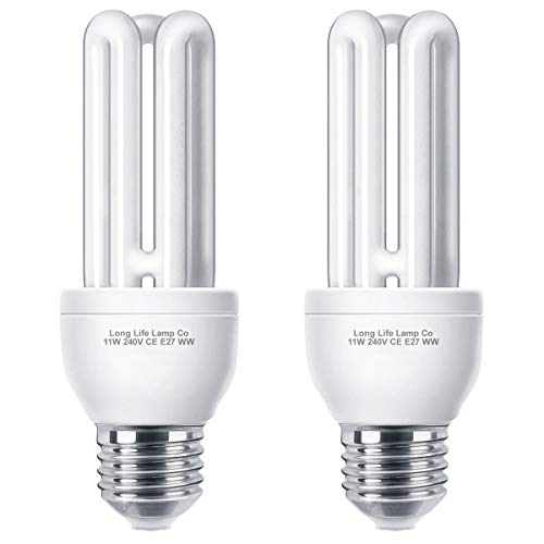 2 x Energy Saving 11W E27 ES CFL Light Bulbs, Edison Screw, 2700K Warm White U3