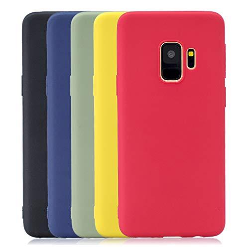 Rongecr 5x Reine Farbe Hülle für Samsung Galaxy S9, Weiches TPU-Silikon Flexibel Anti-Rutsch Soft Silicone Case [Elegantes Schwarz + Saphirblau + Verblasstes Grün + Hellgelb + Neonrot] -