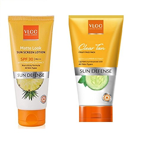 VLCC Matte Look Sunscreen Lotion SPF 30, 60g with Free VLCC Clear Tan Face Pack | VLCC Matte Look Sunscreen Lotion SPF 30, 60g with Free VLCC Clear Tan Face Pack | medicineindia.com