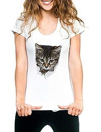 Lisli T-Shirt Manche Court Femme Fille Top Blouse Haut Tunique Chemise  Impression Chat Casual Sport Plage… be1447ab0a0