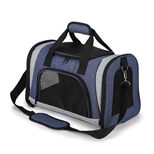 Warmcasa Transportadora para Perro y Gato Bolsa de Transportín Plegable Impermeable para Viajar con Mascotas en Tren y Avión (Azul y Negro)