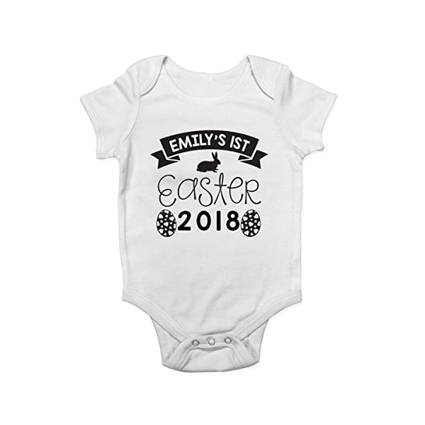 Shopagift Personalised With any Name My 1st Easter 2018 Cute Boys and Girls Baby Vest Bodysuit