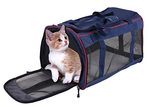 Transporttasche Katze, Legendog Soft Airline Genehmigt Transportbox für Katzen Faltbar Modische Leichte Katzenbox Reisetasche Tasche mit Fleece Matte für Große Tiere Katzen Kleine Hunde 51*32*33 CM (Blau)