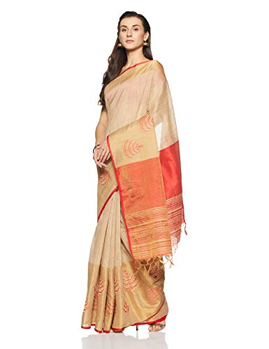 Aalia Art Silk Embroidered Saree with Blouse piece (8838!_Beige and Red!_One size)