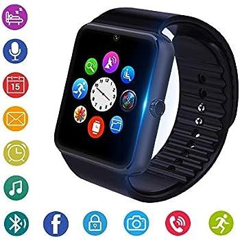 Reloj Inteligente, Bluetooth Smartwatch Fitness Tracker con cámara SIM Ranura para Tarjeta Podómetro Reloj Deportivo