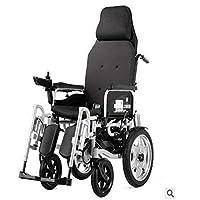 LUO Silla de Ruedas Eléctrica, Discapacitados Ancianos, Freno Automático, Reclinable, Pierna,