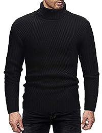 Cebbay Camiseta de Manga Larga para Hombres Cuello Alto de Punto elástico Chaqueta Slim-fit