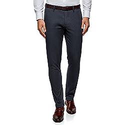 oodji Ultra Hombre Pantalones Chinos de Tejido Texturizado, Azul, ES 48 (XL)