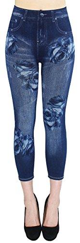 dy_mode Capri Leggings Damen Jeggings 7/8 in Jeans Optik Sommer Leggings Caprihose Frauen - 7LG510 (One Size - Gr.36-42, 7LG510)