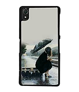 FUSON Designer Back Case Cover for Sony Xperia Z2 (5.2 Inches) (Hearty touch girly paint Art Cute pretty girl)