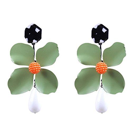 Discovery Damen Sweet Blume Drop Lange baumeln Ohrringe Paar Creative Quaste Aufhänger Anhänger Einheitsgröße Grün