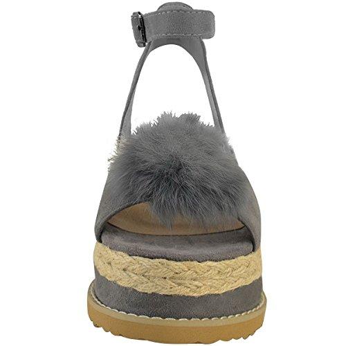 Miss Image UK Donna Pompon Pompon Espadrillas Plateau Zeppe Cinturino Alla Caviglia Sandali Scarpe Numero Grigio Finto Scamosciato