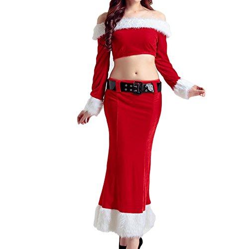 Kleider Weihnachten Kostüme Set ,Feicuan Damen Schulterfrei Tops Thin Slim rot Rock mit (Kostüme It Set Off)