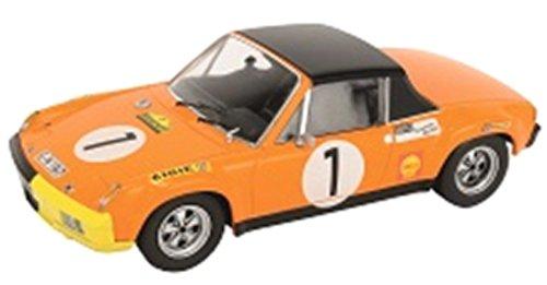 Schuco 450370800 - Porsche 914/6, Startnummer 1, Marathon de la Route, 1970 Gewinner, Fahrer - Larrousse/Haldi/Dr. Marko, Maߟstab 1:43,  orange (Porsche 914 Modell)