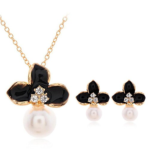 HYHAN Signore ultra-flash collana tempestato di diamanti trifoglio perla due pendenti di collana in due pezzi , gold plated black suit - Diamante Perla Stud