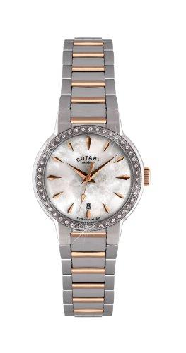 Rotary Timepieces - Reloj analógico de mujer de cuarzo con correa de acero inoxidable multicolor